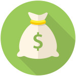 Money bag icon (flat design with long shadows)